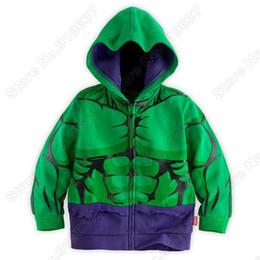 Wholesale Side Zip Hoodie Jacket - Wholesale-Retail Hulk costume Hoodie Coat for Boys Fit 4-9 Age Full zip Side pockets jacket kids OuterWear Boys Clothes 1 lot   5 pcs