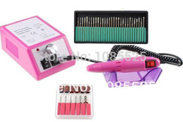Wholesale Pink Electric Nail Drill Machine - Wholesale-Free Shipping Professional pink Electric Nail Drill Manicure Machine with Drill Bits 230V(EU Plug)