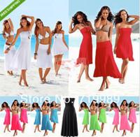 biquíni praia encobrir vestido de saia venda por atacado-Atacado-Sexy Mulheres 3 em 1 Strapless Bikini Cover Up Bandeau Vestido Swimwear Praia Saia 11 cor