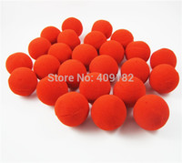 Wholesale Clown Noses - Wholesale-50 Pcs Lot 2015 Red Sponge Foam Ball Clip Circus Clown Nose Comic Halloween Costume Party Magic Dress