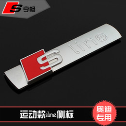 Wholesale audi a6 s line - Wholesale-Free shipping Car side Emblem S-LINE Modified Car Stickers For audi AUDI A2 A3 A4 A6 A6L A8 A7 Q3 Q5 Q7 RS3 RS5 RS7