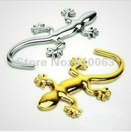 Wholesale 3d Decal Gecko - Wholesale-10 pcs lots car styling 3D Gecko Car Stickers car decoration sticker Badge Emblem Decal Made Of PVC   METAL New Arrival N054