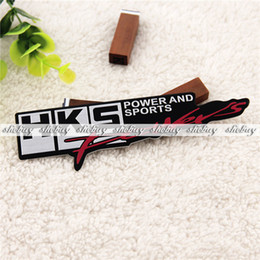 Wholesale Metal Sports Decals - Wholesale-Car Aluminum HKS Power and Sports Emblem Badge Truck Auto Decal Metal Sticker