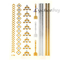 Wholesale metallic tattoo jewelry for sale - Group buy New Design Multicolor Metallic Gold amp Sliver Pyramid Pattern Products Necklace Temporary Jewelry Flash Tattoo