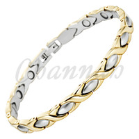 Wholesale Jewelry Gold Hong Kong - Wholesale-Magnetic Gift Jewelry Stainless Steel Bracelet Women Healing 18K Gold Ionic Plating 2015 via Hong Kong Post Free Shipping Bangle