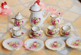 Wholesale Toys Tea Set - Wholesale-Dolls Toys For Girls Miniature Lot of 15 Flower Porcelain Coffee Tea Cup Set Dollhouse Furniture