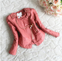 Wholesale Kids Faux Leather Jackets - Wholesale-Retail 1 pcs children outerwear spring autumn 2015 coat zipper lace PU leather kids jackets & coats baby girl clothing CCC958