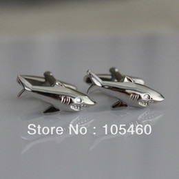 Wholesale Shirt Tie Cufflink Gift Set - Wholesale-Shark Sea Killer Great White Beach Lifeguard Wedding Groom Men Party Business Silver Gift Cufflinks Shirt Suit Cuff Links