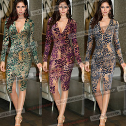 Robe De Tunique Pas Cher-Femmes Hot Sexy Leopard à manches longues fente plongée V Tunique Club Clubwear Evening Party Midi Bodycon Wiggle Robe 827