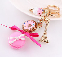 Wholesale Donuts Bag - Wholesale-Macaron Donuts Eiffel Gold plated rhinestone keychain cake car bag charm noble women boutique jewelry birthday christmas gift