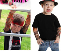 Wholesale Tattoo Sleeve Children - Wholesale-4 PCS new mixed Nylon elastic Fake Nylon Kid Temporary Tattoo Sleeves Arm Stockings Tatoo For Cool Child Free Shipping