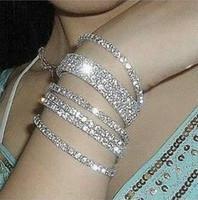Wholesale Stretchy Bling Bracelets - Wholesale-24pcs Stretchy 1 Rows Bling Crystal Rhinestone Bracelets Korean Fashion Bracelet Chains