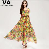 Wholesale Xxl Size Dresses Online - Wholesale-yellow floral print dress long maxi plus size XXXL XXL XL women's summer chiffon casual cheap clothing shop online P00076