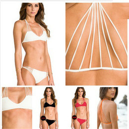 Racerback traje de baño mujer online-Al por mayor-MIKOH traje de baño Banyans String Racerback Bikini Set para mujeres Pin Up triángulo String Swimsuit Eiffel Tower Swimwear