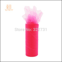 Wholesale Tulle Spools Free Shipping - Wholesale-30 Colors Free Shipping Rose Red 6'' x 25Yards Tulle Roll Nylon Spool for Wedding Party Decoration