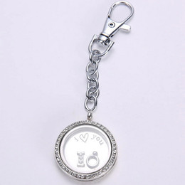Wholesale Wholesale Origami Owl Charms - Wholesale-5pcs lot New arrival 30mm Magnetic glass Rhinestone floating locket keychains origami owl floating charm locket with plate