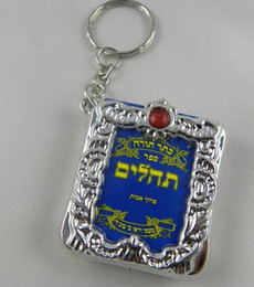 Wholesale Wholesale Judaica Charms - Wholesale-Wholesale-Lot of 20 Hebrew Tehillim   PSALMS Key Chain Ring-Jewish Torah Charm Israel Judaica Gift silver Framed,Free Shipping.