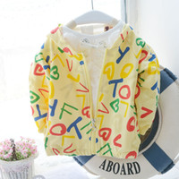 Wholesale Baby Girls Hoodie Zip - Wholesale-Baby child girls boys kids zipped Alphabet letter print hooded coat, toddler spring autumn jackets outerwear hoodie