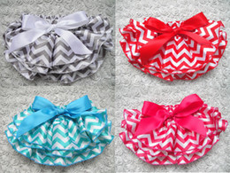 Wholesale Ems Diaper - 48pcs lot EMS free shipping baby posh bloomers navy chevron diaper cover navy ziazag print bloomer with bow kids satin bloomer