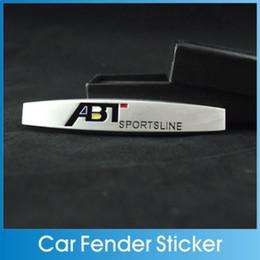 Wholesale Vw Abt - Wholesale-Car Auto fender stickers 3D Metal Chromed Car Side Badges Emblem For VW ABT Sportsline Auto Accessories Car Styling