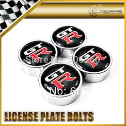 Wholesale Chrome License - Wholesale-Car Styling For NISSAN GTR SKYLINE R32 R33 R34 R35 4PCS Chrome Round Car Number License Plate Bolt Bolts