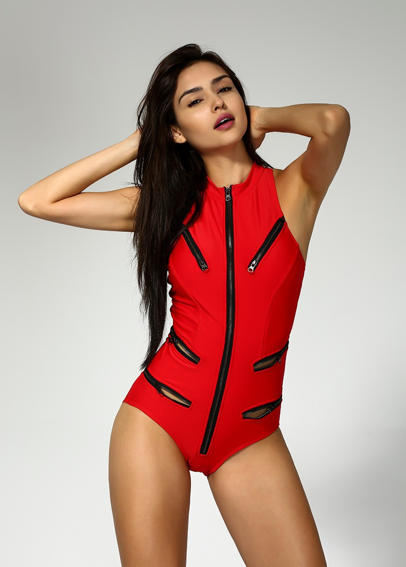 2018 Top Quality Retro Swimwear Zipper One Piece Swim