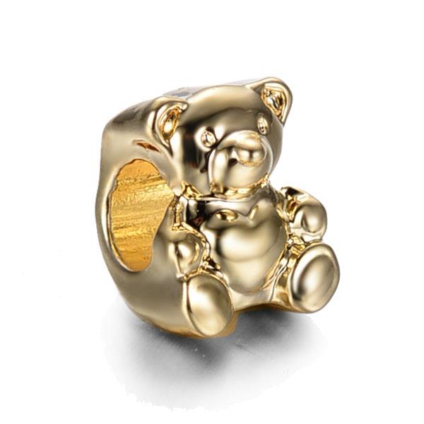 2019 Silver Gold Rose Gold Plated Teddy Bear Pandora Beads