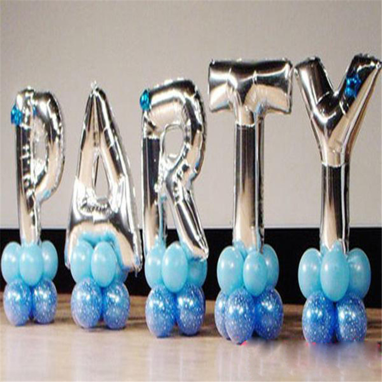 16 Gold Silver Letters Alphabet Number Foil Balloon For