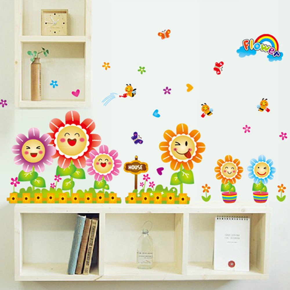 Classroom Decoration Ideas For Summer ~ Cute spring wall decor stickers for kids room nursery