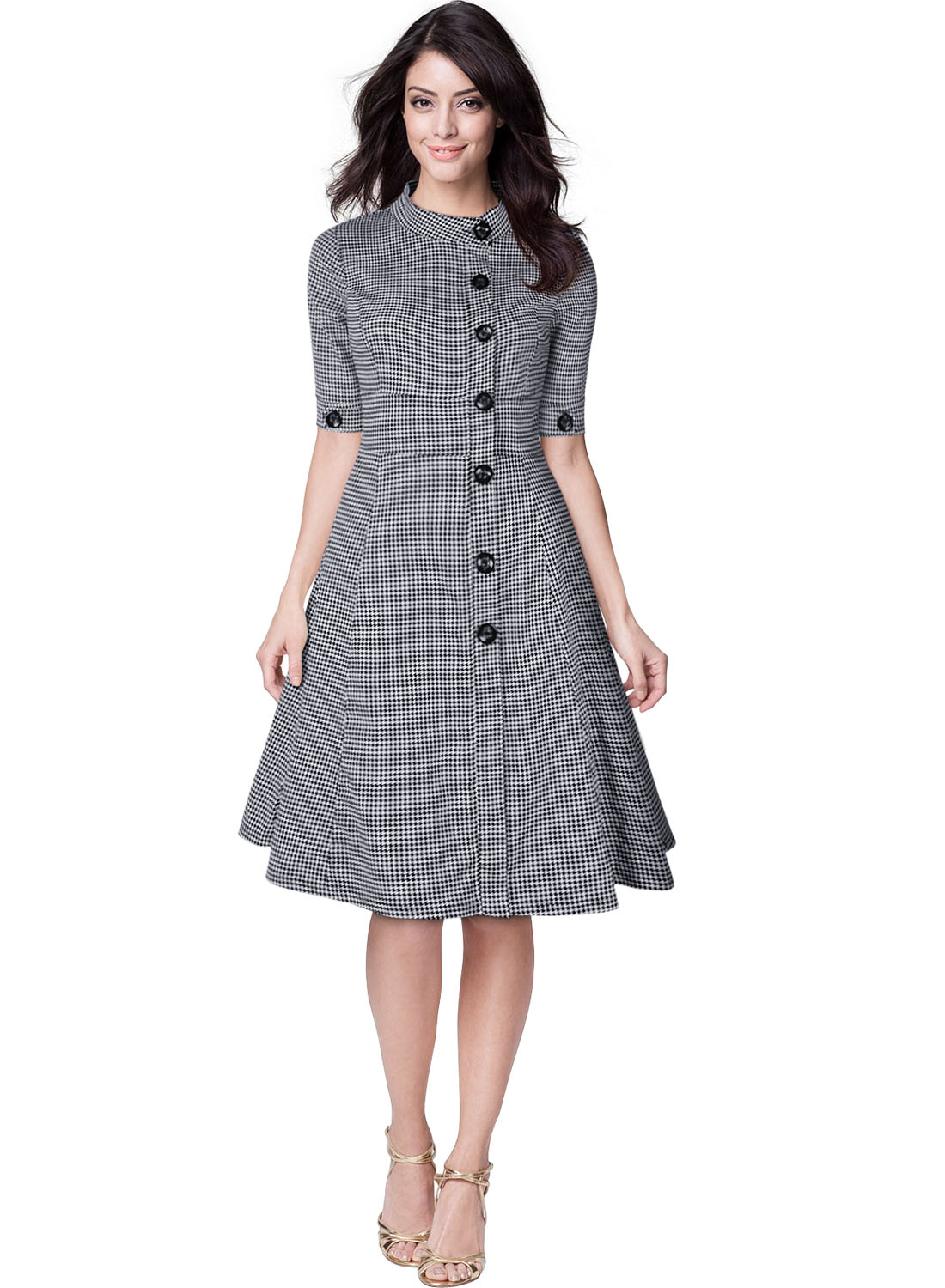 Womens Classic 1950s Vintage Audrey Gingham Checks