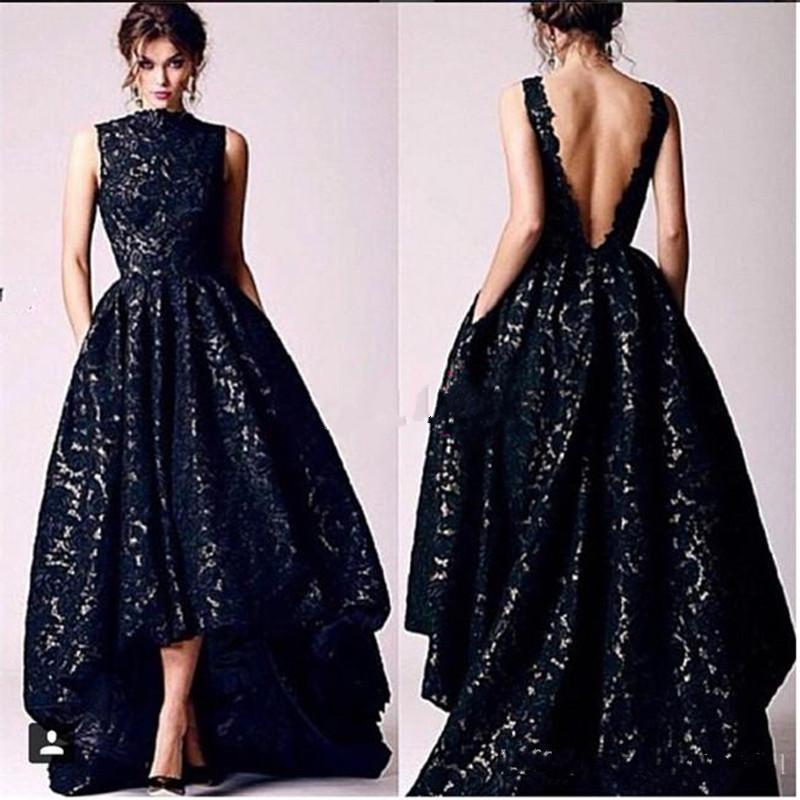 Vintage Black Lace Hi Lo Evening Dresses A Line Cap Sleeve