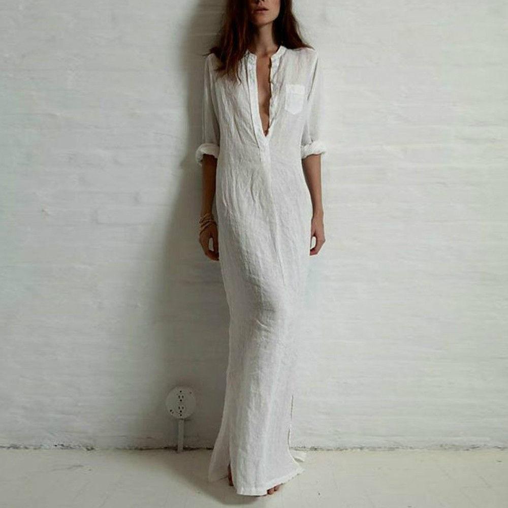 großhandel gute qualität sommer frauen mode kleider leinen baumwolle casual  lange split maxi wrap shirt kleid damen vestidos weinrot weiß schwarz