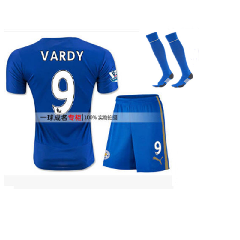 2016 Leicester City Home Blue Soccer Jersey + Socks Away