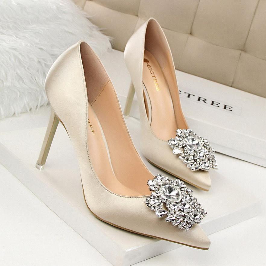 2015 Elegant Blue Burgundy Lady High Heel Wedding Shoes
