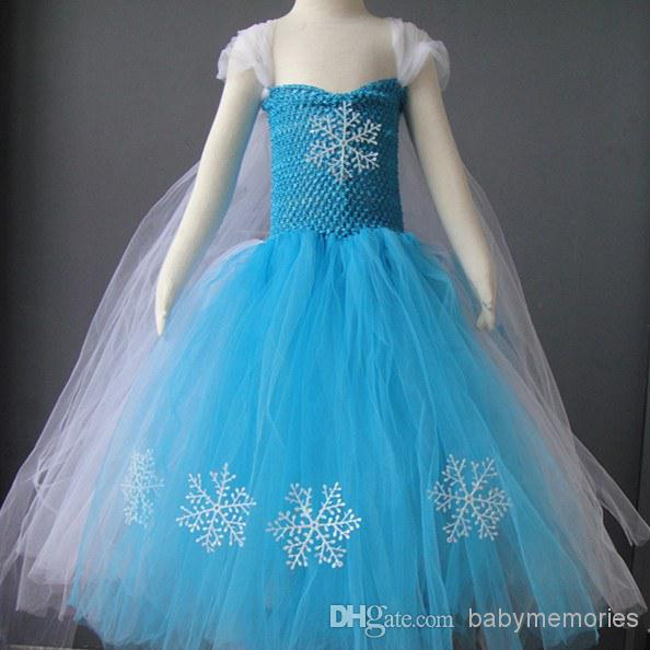 2014 New Baby Girls Frozen Anna Elsa Dress Children Tulle