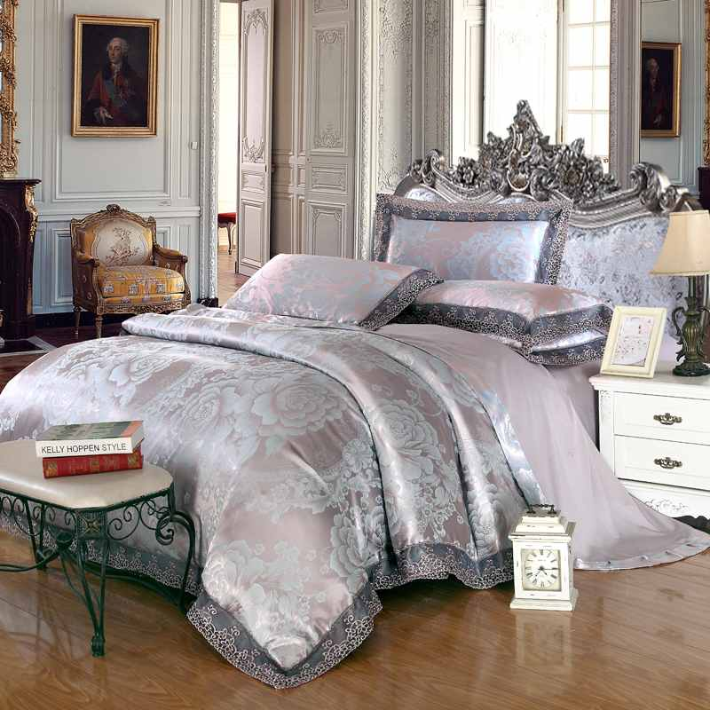 Green Jacquard Satin Bedding Set Queen King Size Noble Bed
