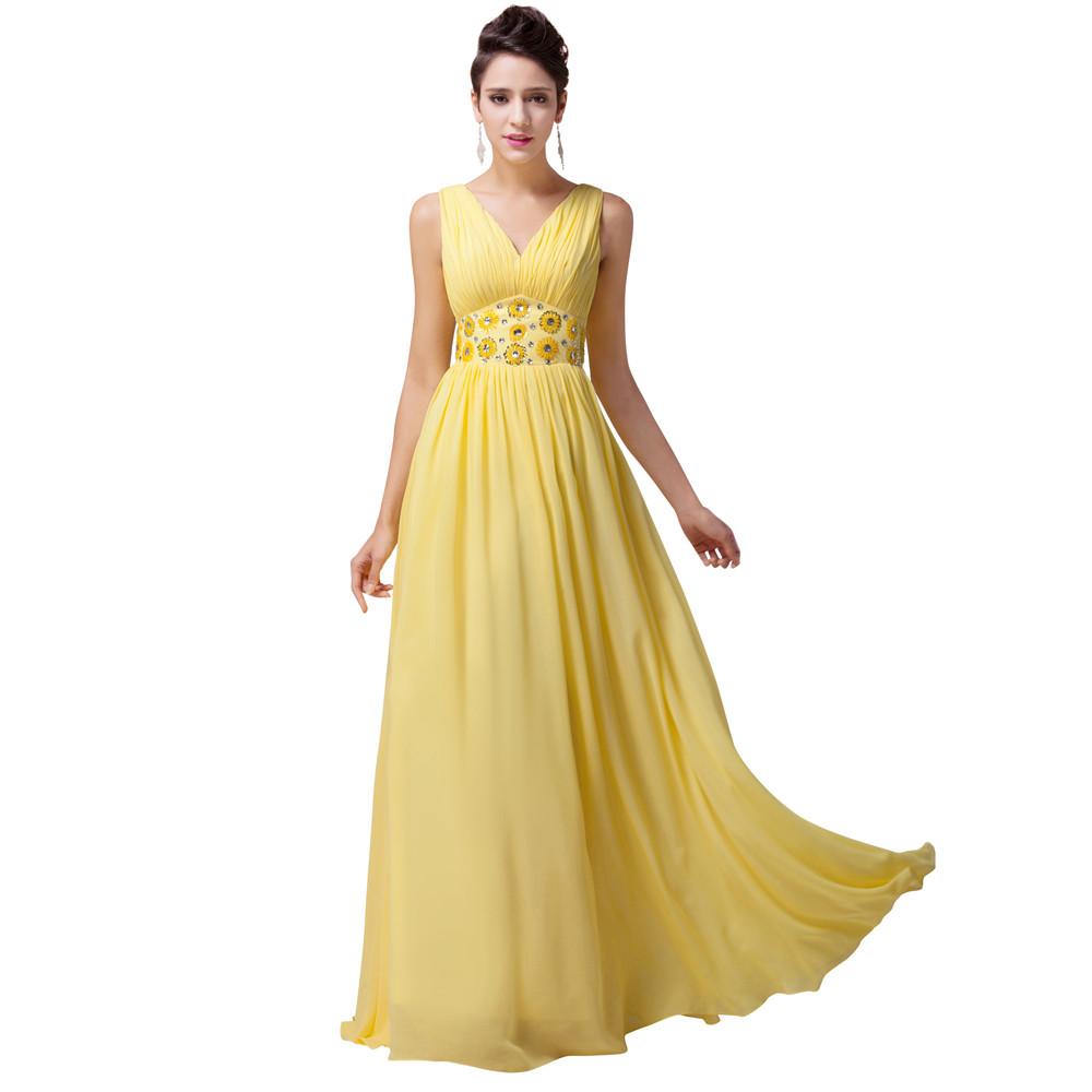 Grace Karin Beautiful Yellow Chiffon Bridesmaid Dresses A