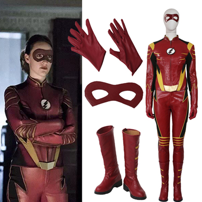Newest Flash 3 Jesse Quick Cosplay Costume Customize Suit and Patch Gloves Pants