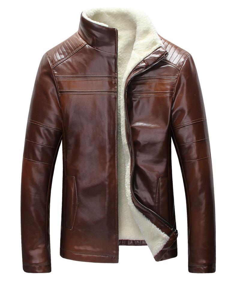 Vintage Mens Leather Lamb Wool Fleece Fur Winter Warm Coats Jackets Outwear