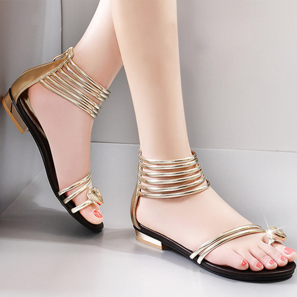 Casual Style Rhinestone Gladiator Sandals Solid Color Flat