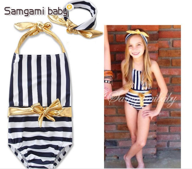 Striped One-Piece Suit(With Headband)