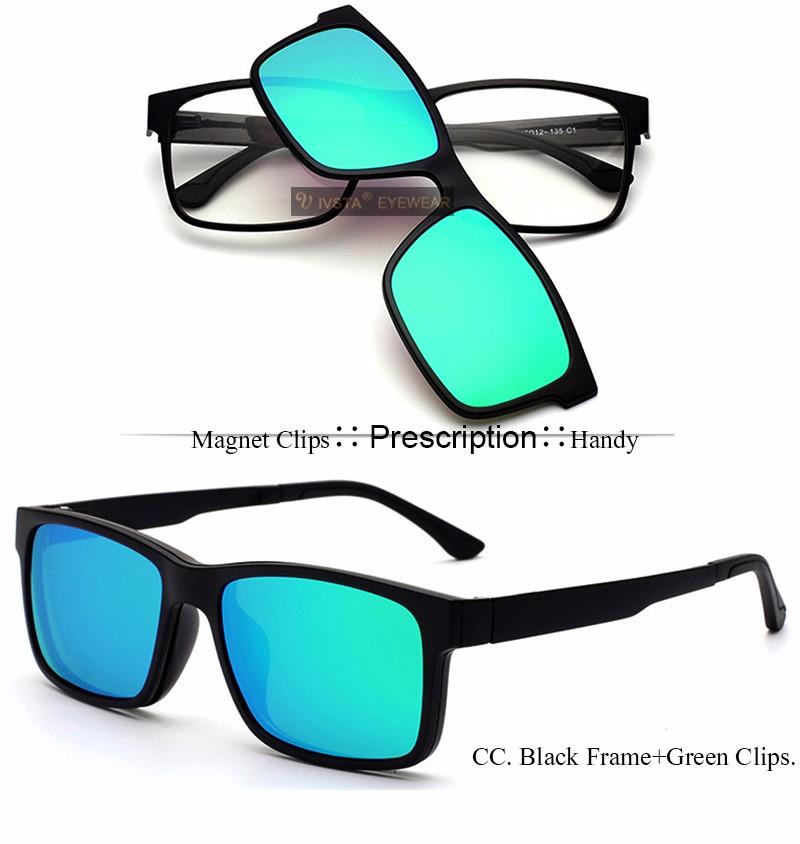 fdfbf398727 Ivsta Polarized Clip On Sunglasses Men Custom Prescription Lenses Magnetic  Clips Night Vision .