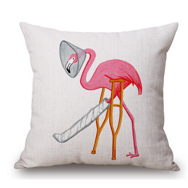 Christmas Flamingo Sofa Cushion Covers Manufacturers Linen Cotton Throw Pillow Covers For Home ...