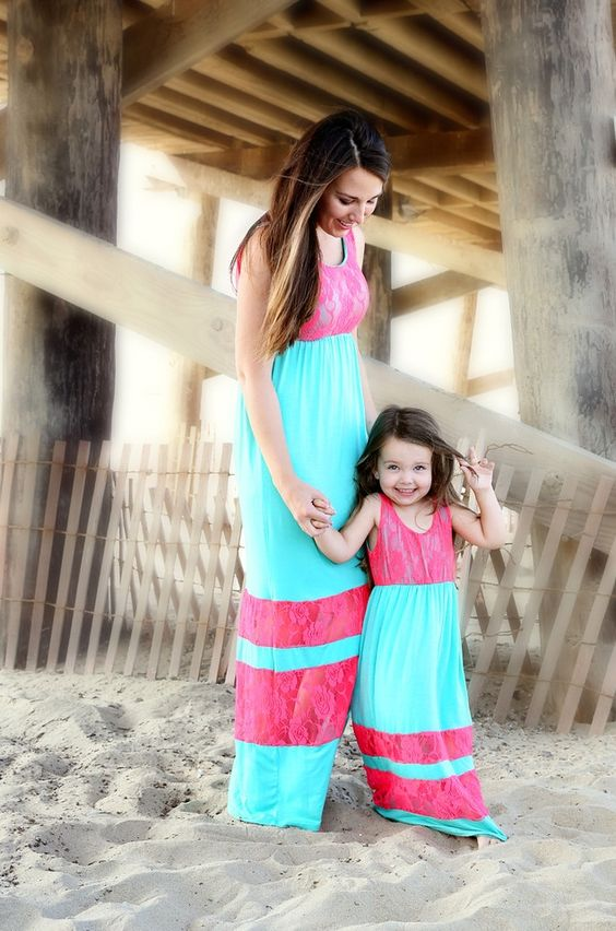 Family Matching Mother Daughter Dresses Clothes Striped