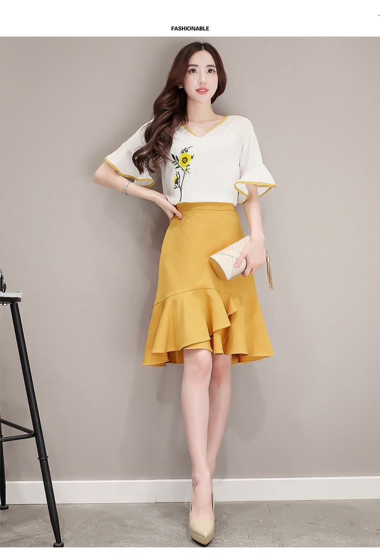 2018 2018 Summer Fashion Elegant Embroidery Skirt Suit Korean Style Set Women Flare Sleeve Tops ...