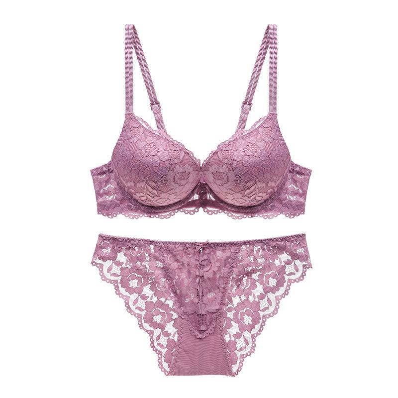 MOXIAN/Lace Bra Set Lady Underwear Sexy Purple Seduce Man ...