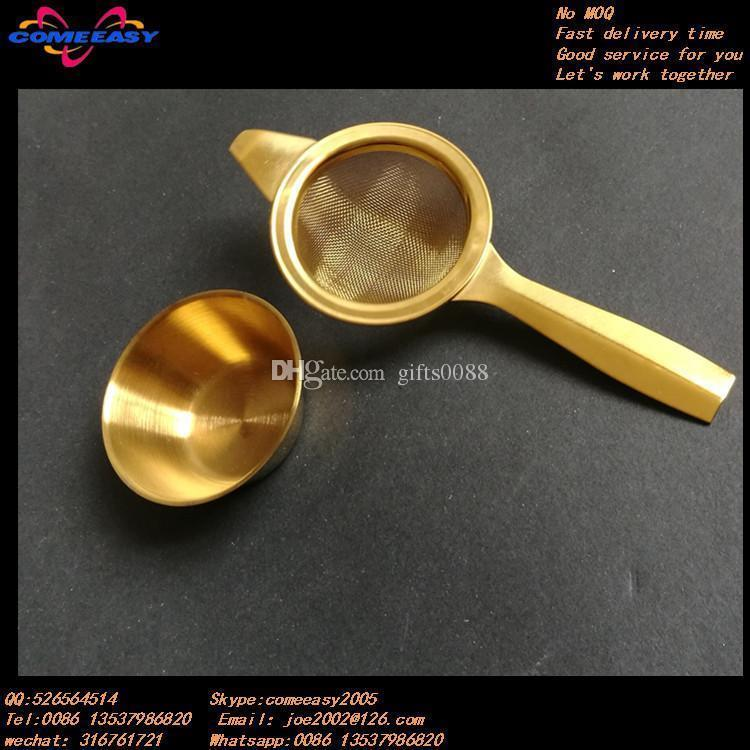 gold tea Strainer with cup