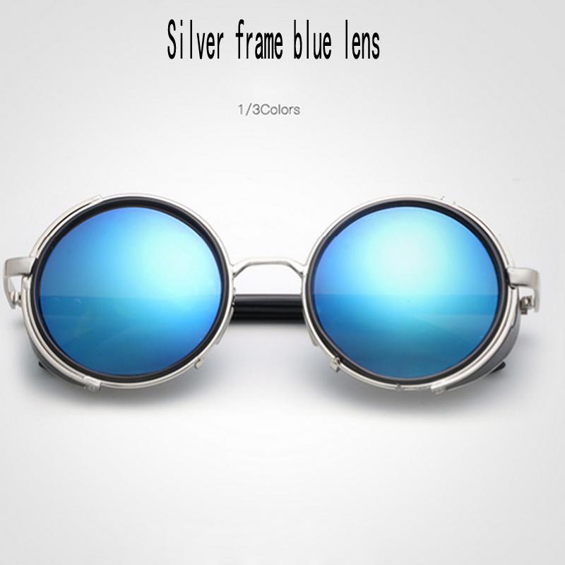 Silver frame lente blu