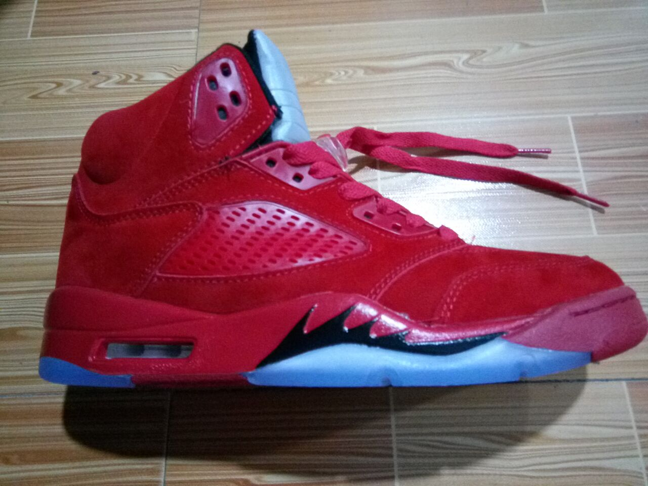 Flight Suit 5s Raging Bull Red Suede Ice Blue Suede 5s ...