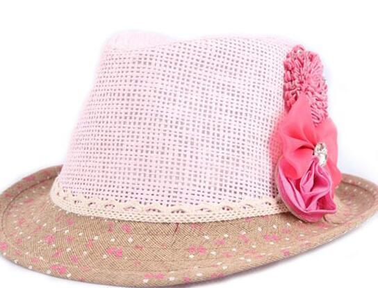D cappello rosa + fiore rosso